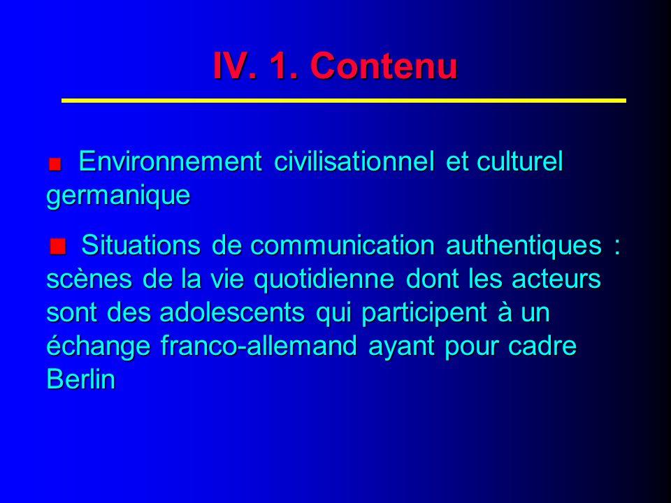 IV. CONTENU