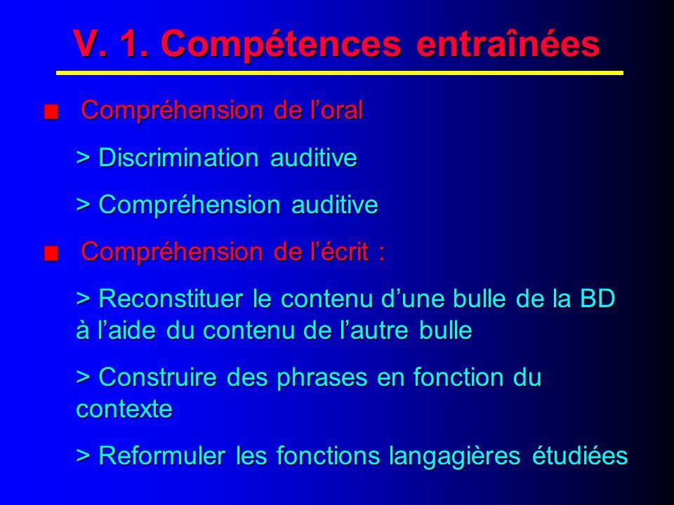 V. COMPETENCES ENTRAINEES
