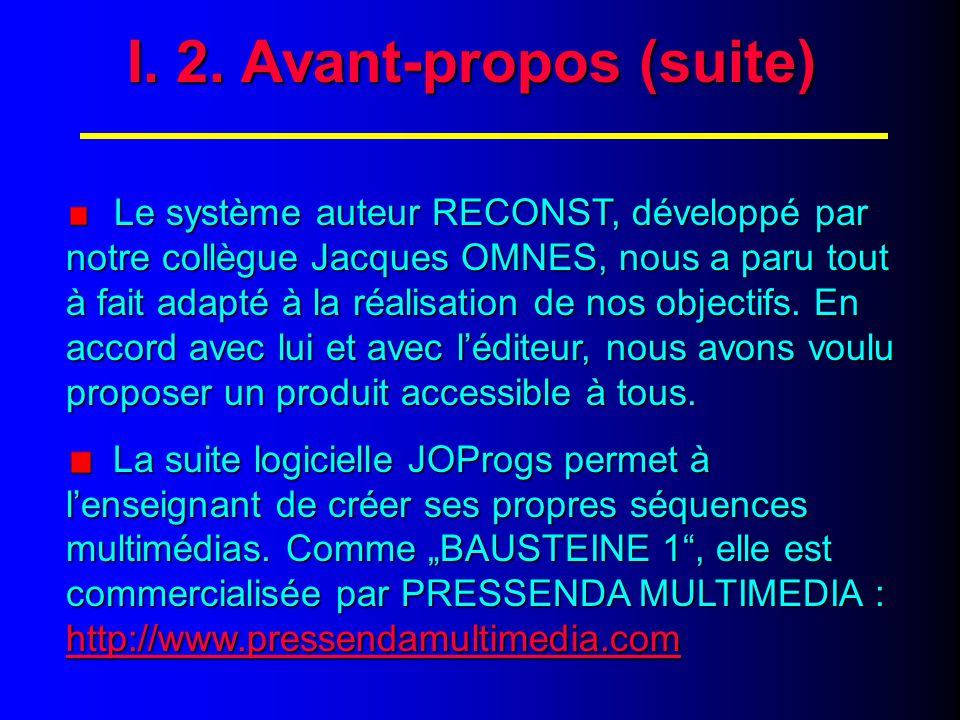 Le système auteur RECONST, développé par notre collègue Jacques OMNES, nous a paru tout à fait adapté à la réalisation de nos objectifs.