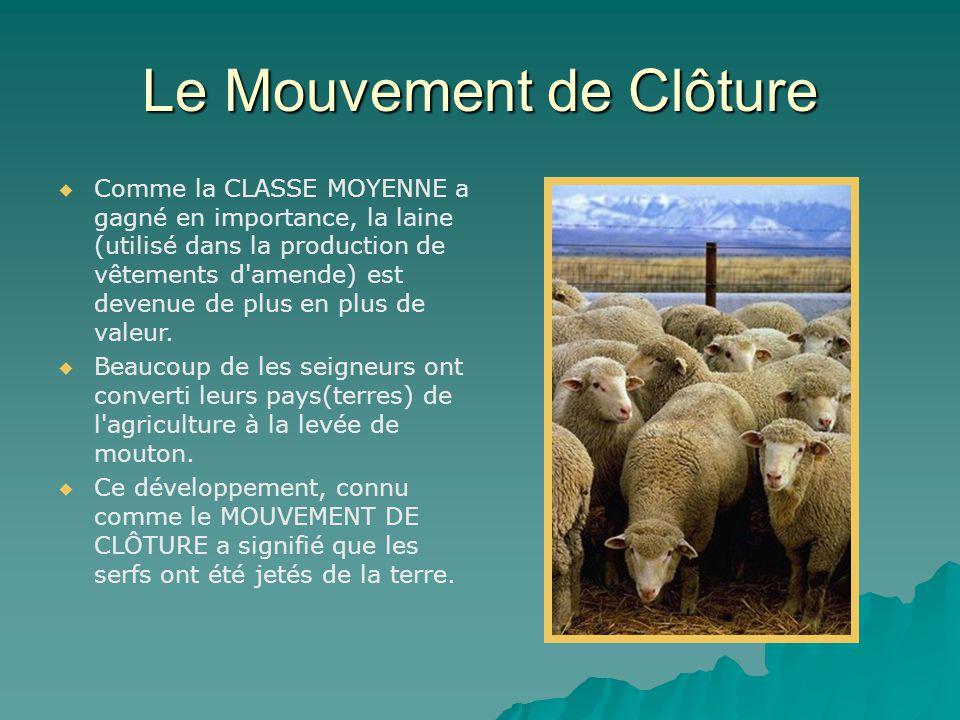 Le Mouvement de Clôture   Comme la CLASSE MOYENNE a gagné en importance, la laine (utilisé dans la production de vêtements d amende) est devenue de plus en plus de valeur.