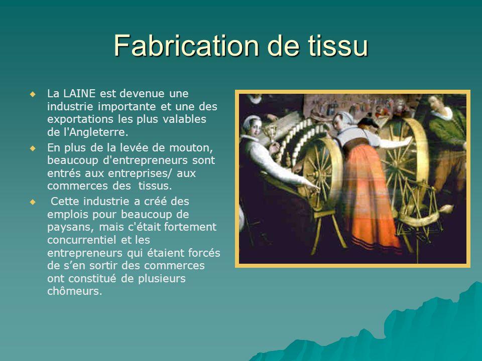 Fabrication de tissu   La LAINE est devenue une industrie importante et une des exportations les plus valables de l'Angleterre.   En plus de la le