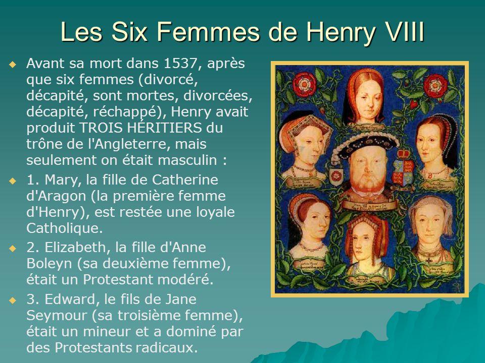 Les Six Femmes de Henry VIII   Avant sa mort dans 1537, après que six femmes (divorcé, décapité, sont mortes, divorcées, décapité, réchappé), Henry avait produit TROIS HÉRITIERS du trône de l Angleterre, mais seulement on était masculin :   1.