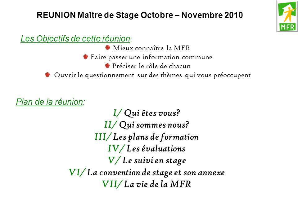 REUNION Maître de Stage Octobre – Novembre 2010 Les Objectifs de cette réunion : Mieux connaître la MFR Faire passer une information commune Préciser