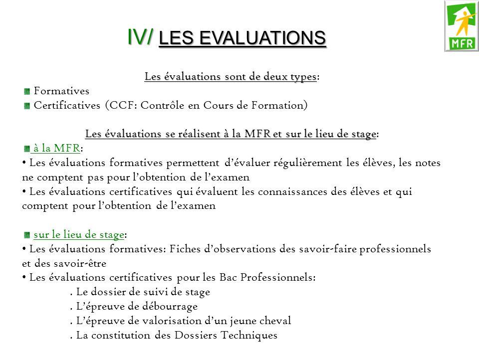 IV/ LES EVALUATIONS Les évaluations sont de deux types Les évaluations sont de deux types: Formatives Certificatives (CCF: Contrôle en Cours de Format