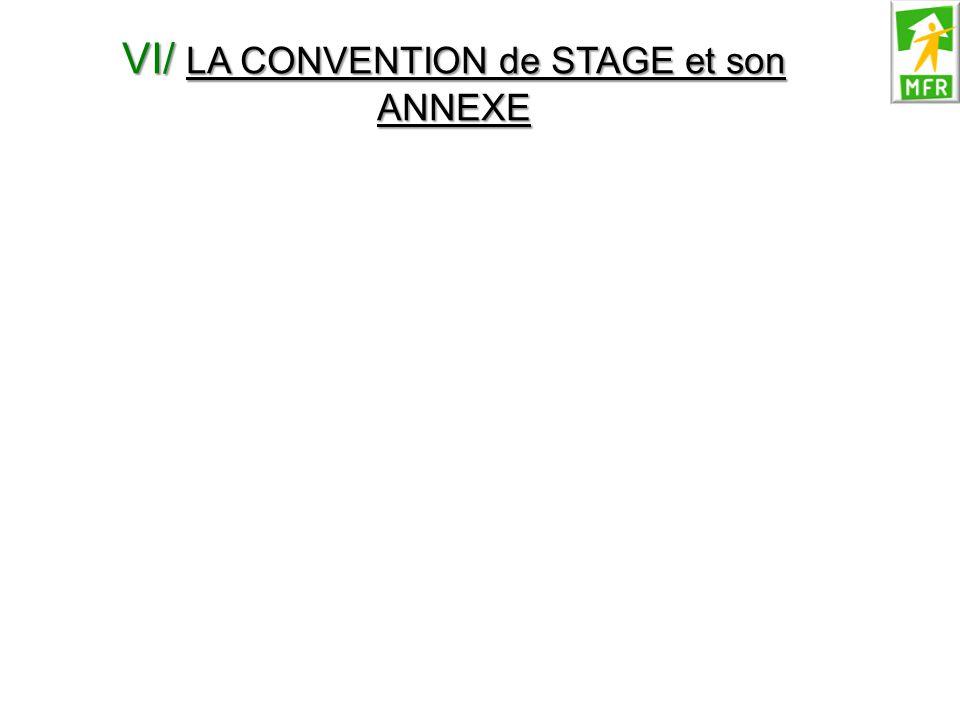 VI/ LA CONVENTION de STAGE et son ANNEXE