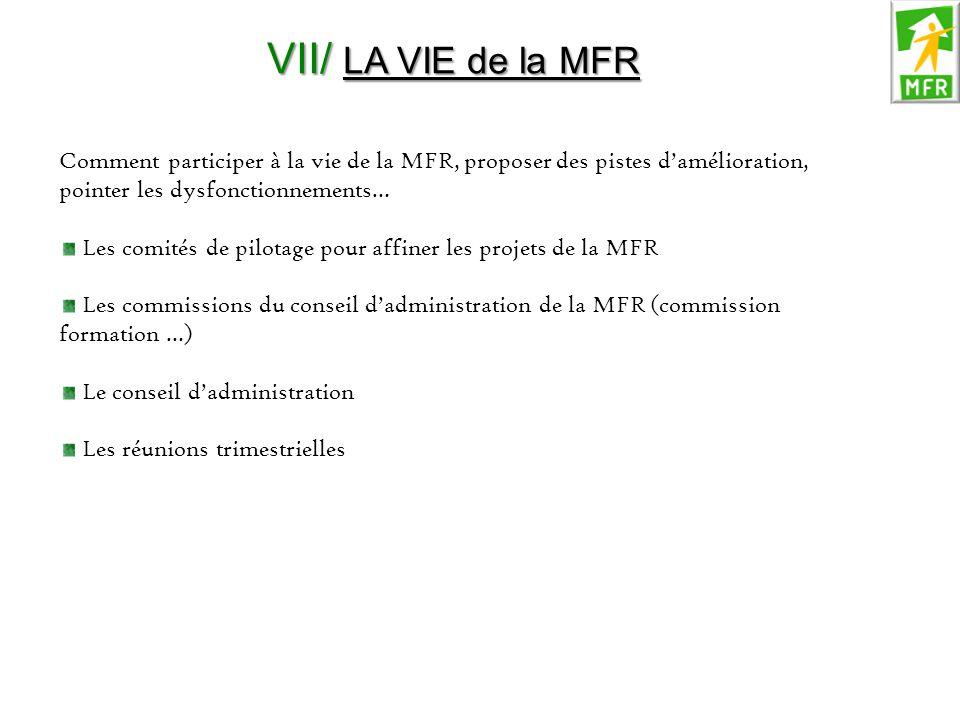 VII/ LA VIE de la MFR Comment participer à la vie de la MFR, proposer des pistes d'amélioration, pointer les dysfonctionnements… Les comités de pilota