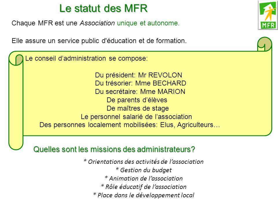 Le statut des MFR Chaque MFR est une Association unique et autonome. Elle assure un service public d'éducation et de formation. Le conseil d'administr