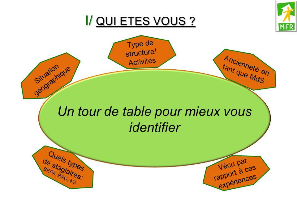 I/ QUI ETES VOUS ? Un tour de table pour mieux vous identifier Situation géographique Type de structure/ Activités Ancienneté en tant que MdS Quels ty
