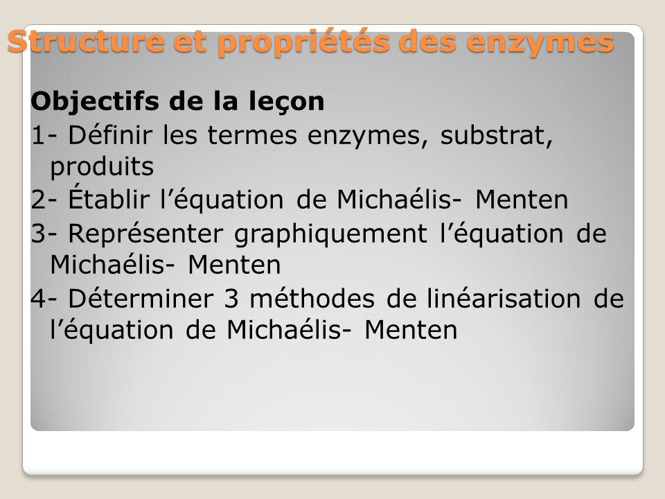 Structure et propriétés des enzymes Objectifs de la leçon 1- Définir les termes enzymes, substrat, produits 2- Établir l'équation de Michaélis- Menten 3- Représenter graphiquement l'équation de Michaélis- Menten 4- Déterminer 3 méthodes de linéarisation de l'équation de Michaélis- Menten