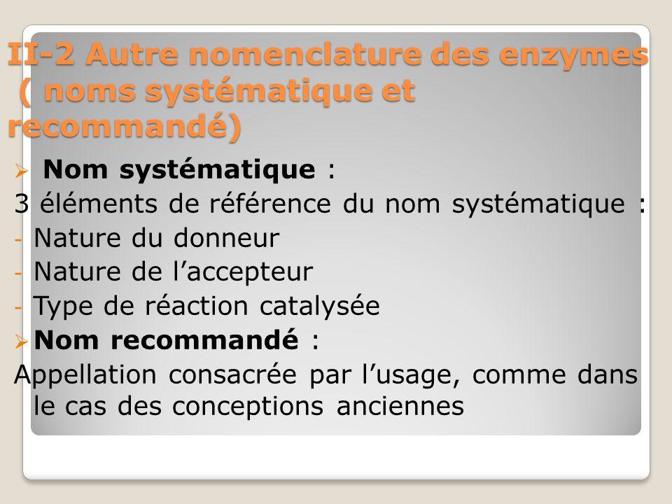 II-2 Autre nomenclature des enzymes ( noms systématique et recommandé)  Nom systématique : 3 éléments de référence du nom systématique : - Nature du donneur - Nature de l'accepteur - Type de réaction catalysée  Nom recommandé : Appellation consacrée par l'usage, comme dans le cas des conceptions anciennes