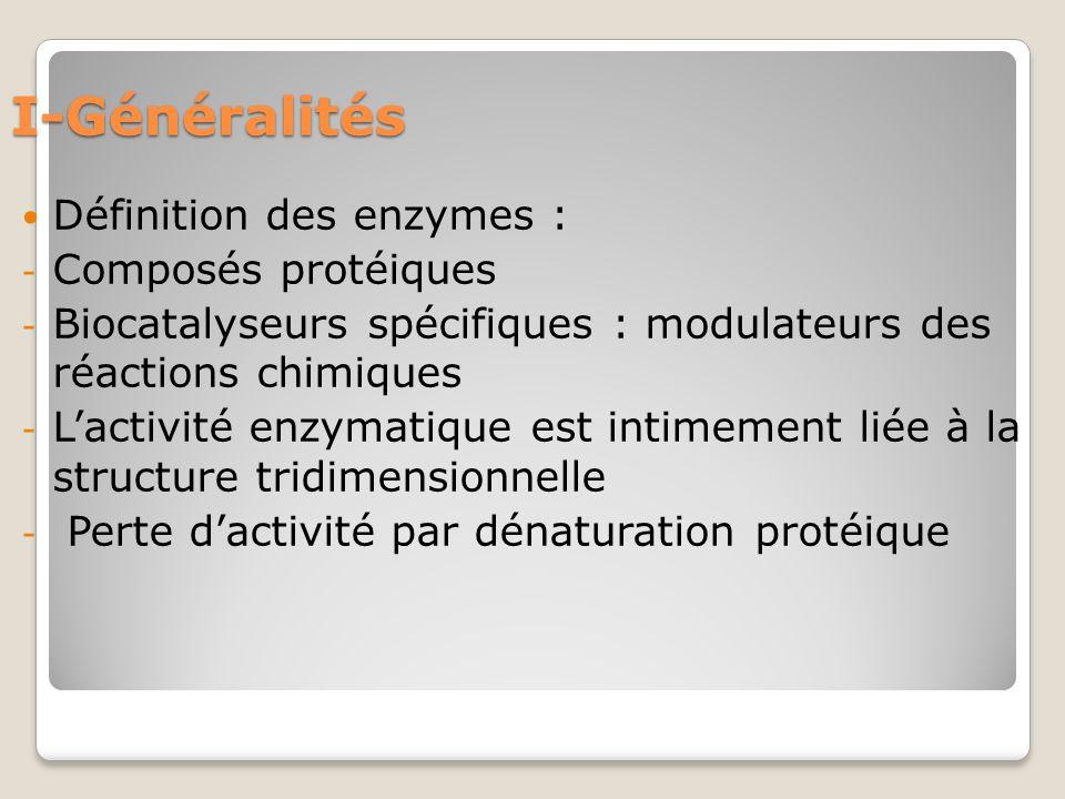 I-Généralités Définition des enzymes : - Composés protéiques - Biocatalyseurs spécifiques : modulateurs des réactions chimiques - L'activité enzymatique est intimement liée à la structure tridimensionnelle - Perte d'activité par dénaturation protéique