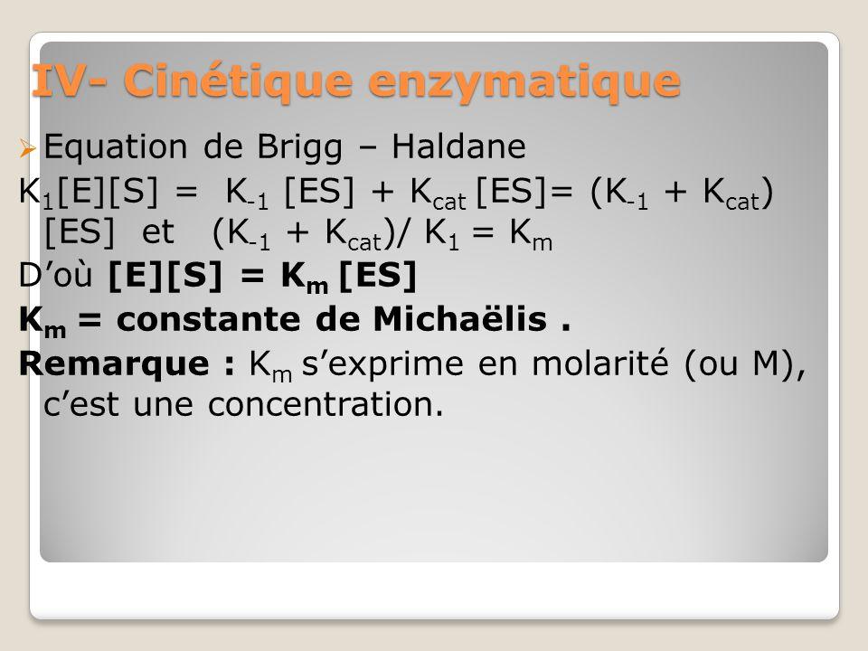 IV- Cinétique enzymatique  Equation de Brigg – Haldane K 1 [E][S] = K -1 [ES] + K cat [ES]= (K -1 + K cat ) [ES] et (K -1 + K cat )/ K 1 = K m D'où [E][S] = K m [ES] K m = constante de Michaëlis.