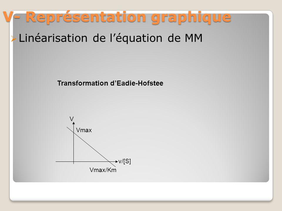 V- Représentation graphique  Linéarisation de l'équation de MM Transformation d'Eadie-Hofstee Vmax/Km Vmax V v/[S]
