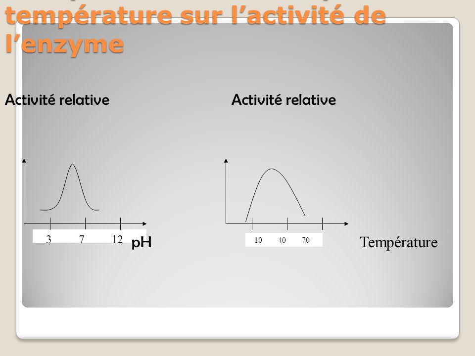 Récapitulatif des effets pH et température sur l'activité de l'enzyme 3 7 12 10 40 70 Activité relative pH Température