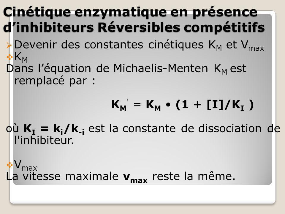  Devenir des constantes cinétiques K M et V max  K M Dans l'équation de Michaelis-Menten K M est remplacé par : K M = K M (1 + [I]/K I ) où K I = k i /k -i est la constante de dissociation de l inhibiteur.