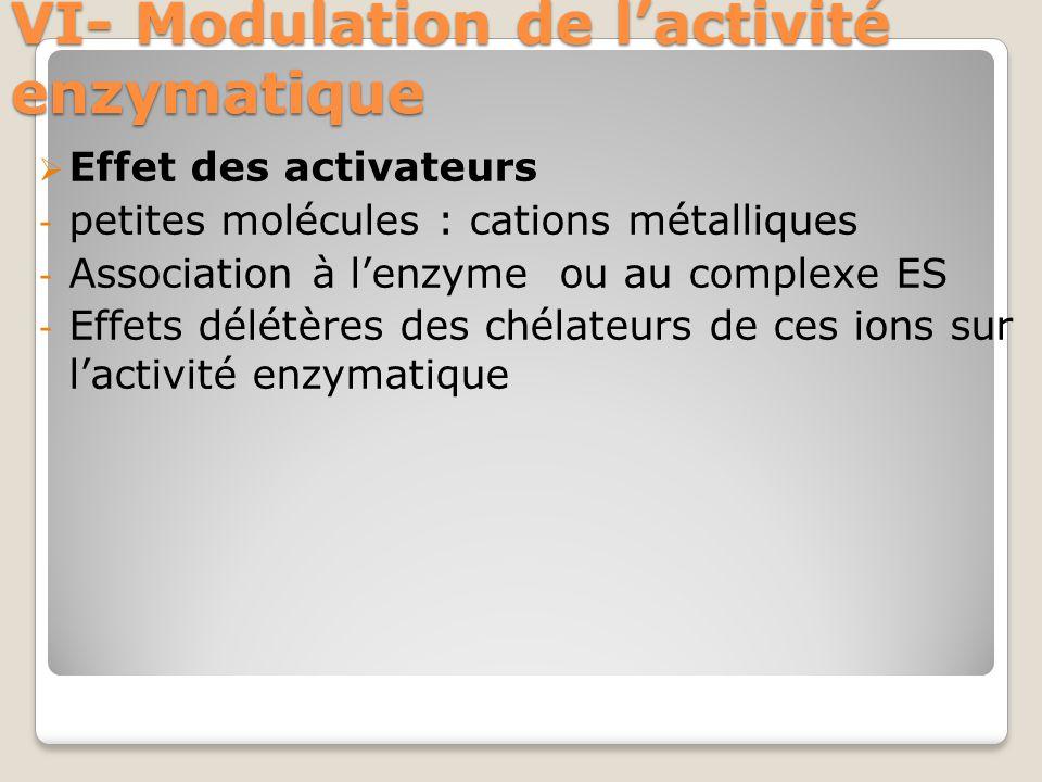 VI- Modulation de l'activité enzymatique  Effet des activateurs - petites molécules : cations métalliques - Association à l'enzyme ou au complexe ES - Effets délétères des chélateurs de ces ions sur l'activité enzymatique