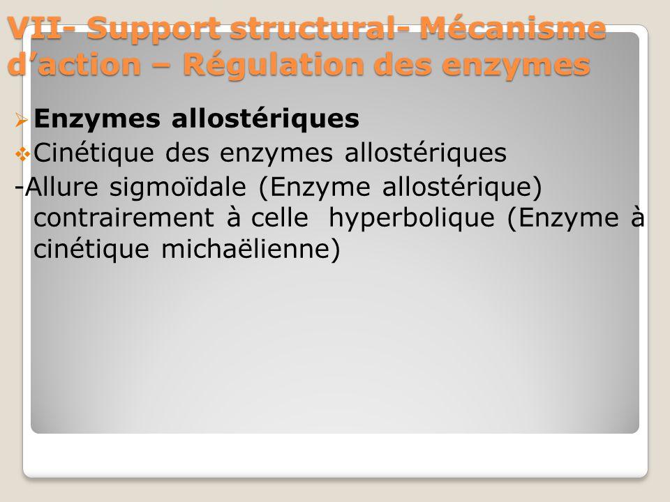 VII- Support structural- Mécanisme d'action – Régulation des enzymes  Enzymes allostériques  Cinétique des enzymes allostériques -Allure sigmoïdale (Enzyme allostérique) contrairement à celle hyperbolique (Enzyme à cinétique michaëlienne)