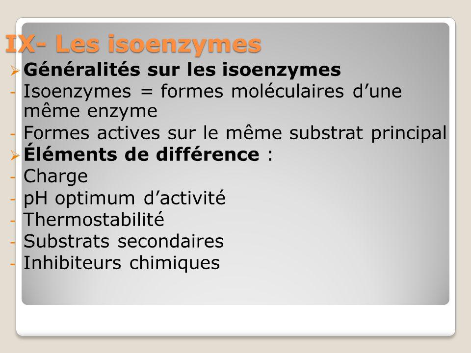 IX- Les isoenzymes  Généralités sur les isoenzymes - Isoenzymes = formes moléculaires d'une même enzyme - Formes actives sur le même substrat principal  Éléments de différence : - Charge - pH optimum d'activité - Thermostabilité - Substrats secondaires - Inhibiteurs chimiques