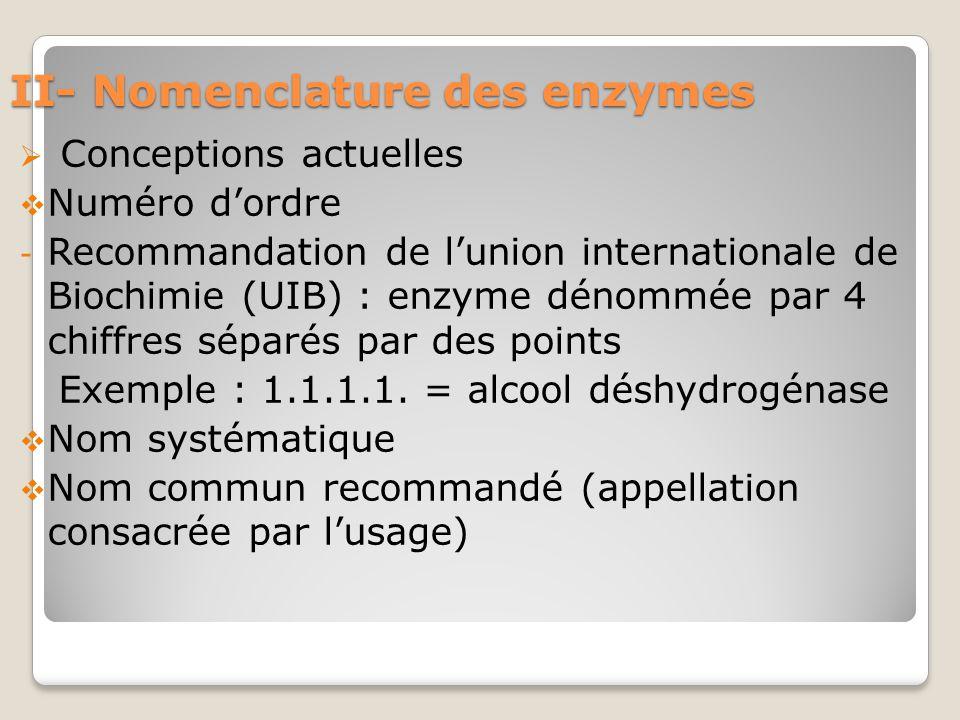 II- Nomenclature des enzymes  Conceptions actuelles  Numéro d'ordre - Recommandation de l'union internationale de Biochimie (UIB) : enzyme dénommée par 4 chiffres séparés par des points Exemple : 1.1.1.1.