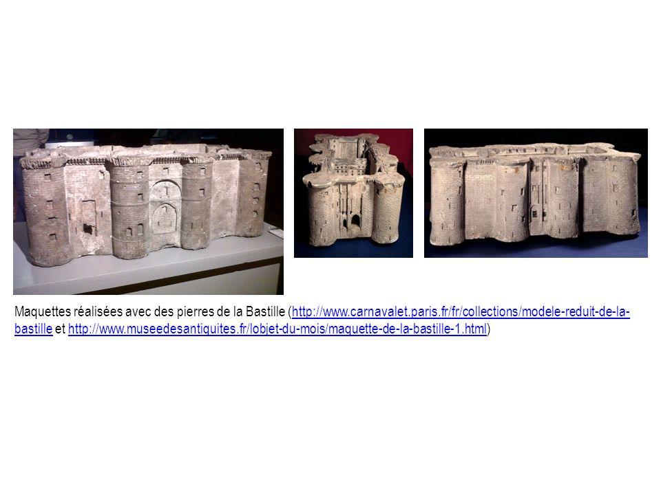 Maquettes réalisées avec des pierres de la Bastille (http://www.carnavalet.paris.fr/fr/collections/modele-reduit-de-la- bastille et http://www.museedesantiquites.fr/lobjet-du-mois/maquette-de-la-bastille-1.html)http://www.carnavalet.paris.fr/fr/collections/modele-reduit-de-la- bastillehttp://www.museedesantiquites.fr/lobjet-du-mois/maquette-de-la-bastille-1.html