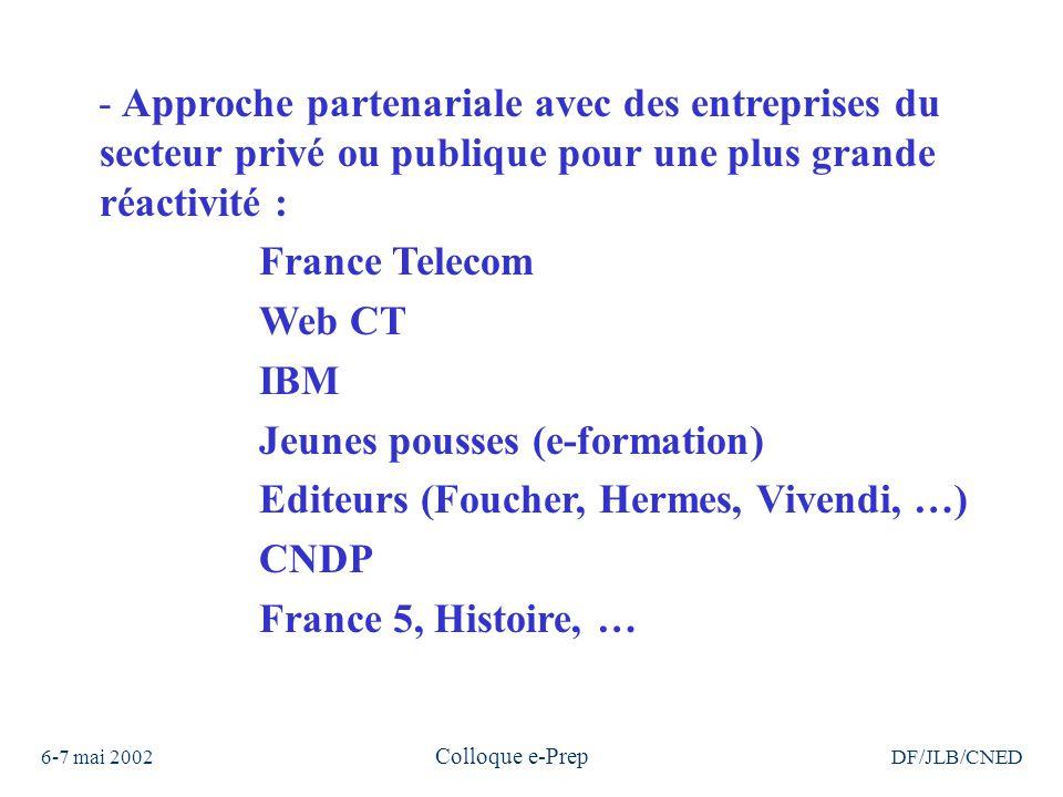 6-7 mai 2002 Colloque e-Prep DF/JLB/CNED - Approche partenariale avec des entreprises du secteur privé ou publique pour une plus grande réactivité : France Telecom Web CT IBM Jeunes pousses (e-formation) Editeurs (Foucher, Hermes, Vivendi, …) CNDP France 5, Histoire, …