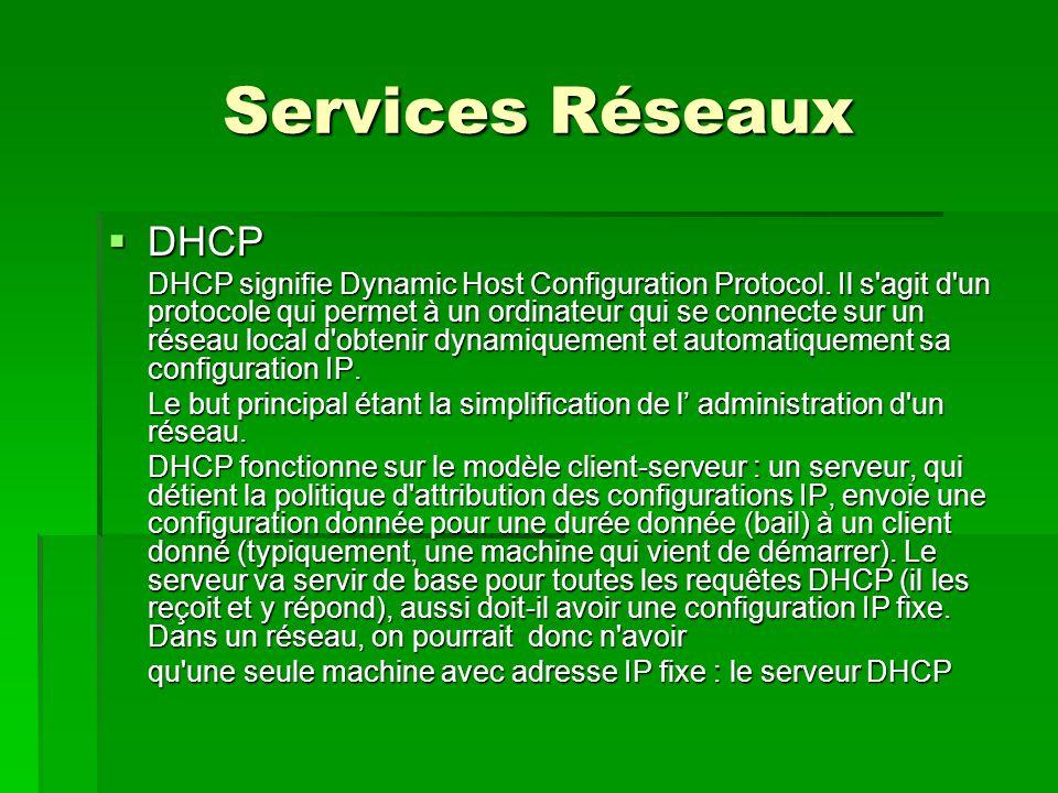 Services Réseaux  Configuration du client DHCP La configuration se trouve dans le fichier /etc/network/interfaces : éditer le fichier interfaces si IP statique su – vi /etc/network/interfaces auto eth0 iface eth0 inet static address 192.168.3.8 netmask 255.255.254.0 network 192.168.3.0 gateway 192.168.3.252 en auto eth0 iface eth0 inet dhcp redémarrage du service /etc/init.d/networking restart