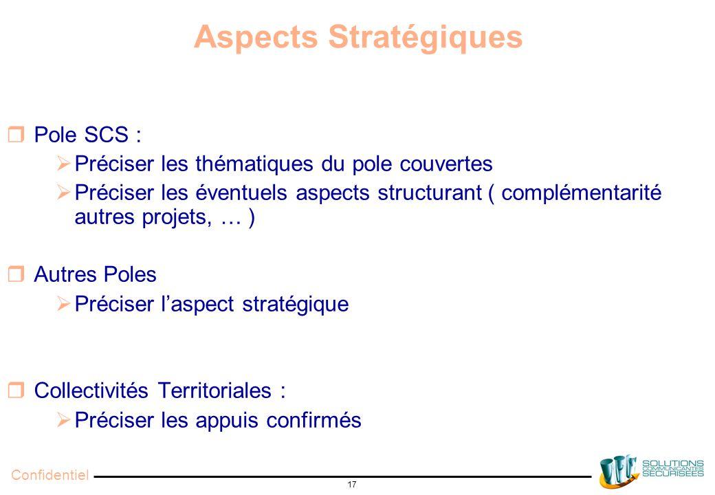 Confidentiel 17 Aspects Stratégiques  Pole SCS :  Préciser les thématiques du pole couvertes  Préciser les éventuels aspects structurant ( complémentarité autres projets, … )  Autres Poles  Préciser l'aspect stratégique  Collectivités Territoriales :  Préciser les appuis confirmés