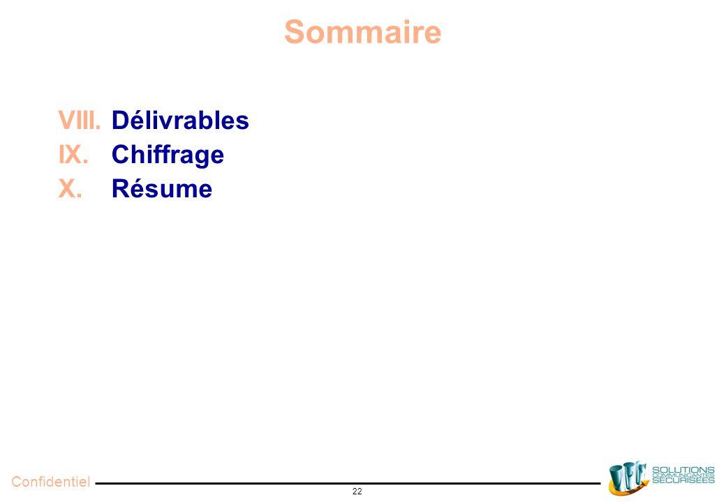 Confidentiel 22 Sommaire VIII. Délivrables IX. Chiffrage X. Résume