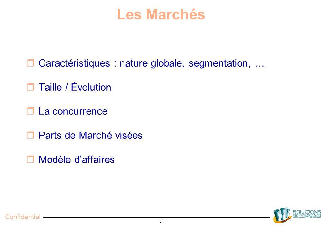 Confidentiel 8 Les Marchés  Caractéristiques : nature globale, segmentation, …  Taille / Évolution  La concurrence  Parts de Marché visées  Modèle d'affaires