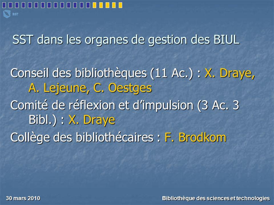 SST dans les organes de gestion des BIUL 30 mars 2010 Bibliothèque des sciences et technologies Conseil des bibliothèques (11 Ac.) : X.