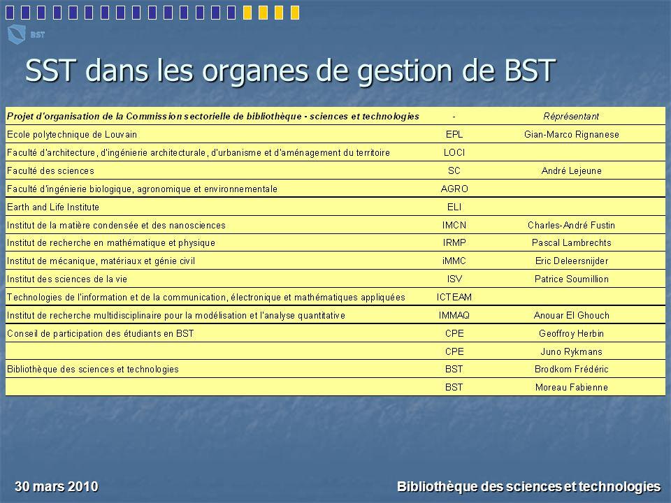 SST dans les organes de gestion de BST 30 mars 2010 Bibliothèque des sciences et technologies