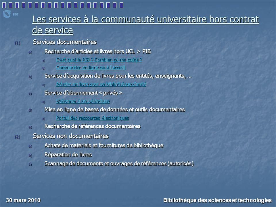 Les services à la communauté universitaire hors contrat de service (1) Services documentaires a) Recherche d'articles et livres hors UCL > PIB a) C'est quoi le PIB .