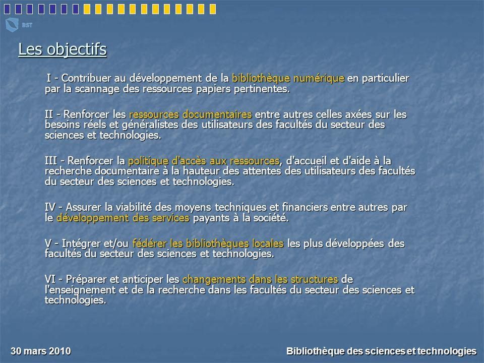 Les objectifs I - Contribuer au développement de la bibliothèque numérique en particulier par la scannage des ressources papiers pertinentes.