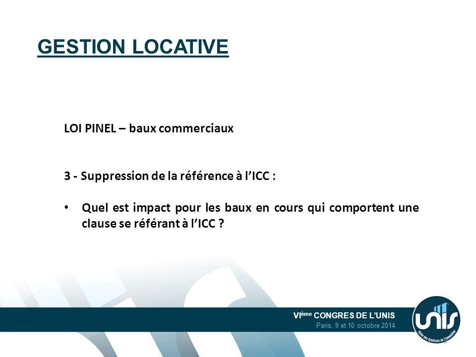 VI ème CONGRES DE L'UNIS Paris, 9 et 10 octobre 2014 GESTION LOCATIVE LOI PINEL – baux commerciaux 3 - Suppression de la référence à l'ICC : Quel est