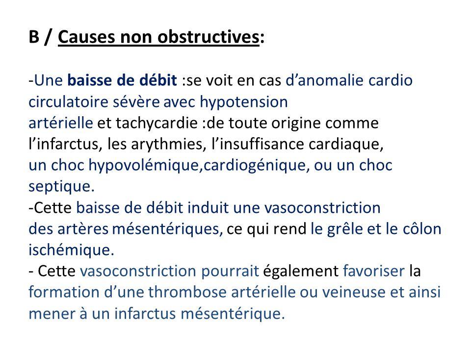 B / Causes non obstructives: -Une baisse de débit :se voit en cas d'anomalie cardio circulatoire sévère avec hypotension artérielle et tachycardie :de