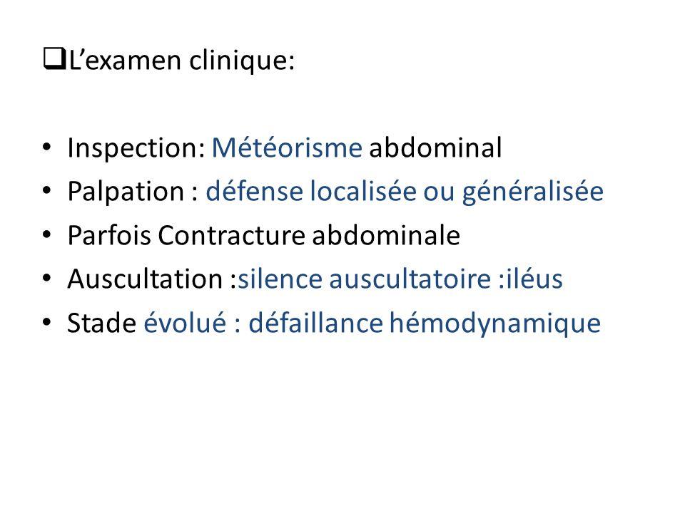  L'examen clinique: Inspection: Météorisme abdominal Palpation : défense localisée ou généralisée Parfois Contracture abdominale Auscultation :silenc