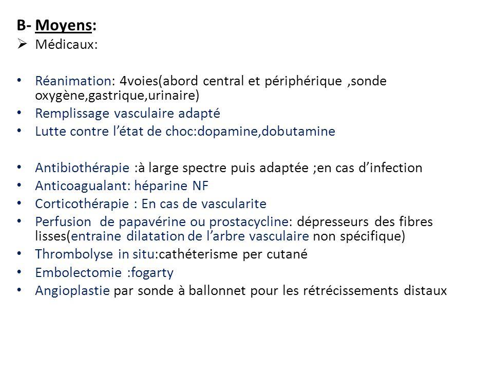 B- Moyens:  Médicaux: Réanimation: 4voies(abord central et périphérique,sonde oxygène,gastrique,urinaire) Remplissage vasculaire adapté Lutte contre