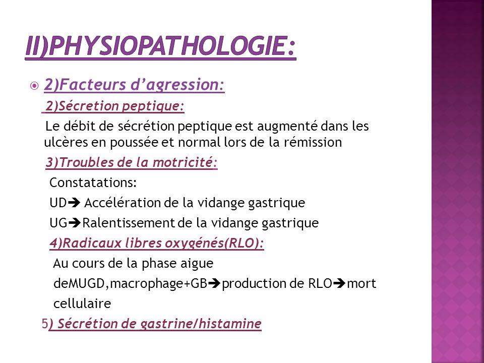  2)Facteurs d'agression: 2)Sécretion peptique: Le débit de sécrétion peptique est augmenté dans les ulcères en poussée et normal lors de la rémission