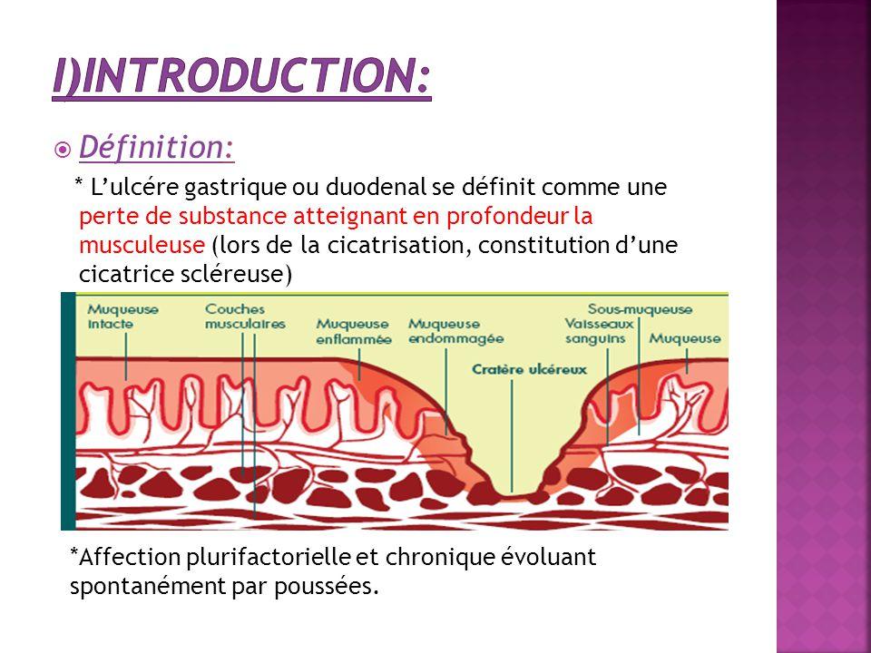  Définition: * L'ulcére gastrique ou duodenal se définit comme une perte de substance atteignant en profondeur la musculeuse (lors de la cicatrisatio