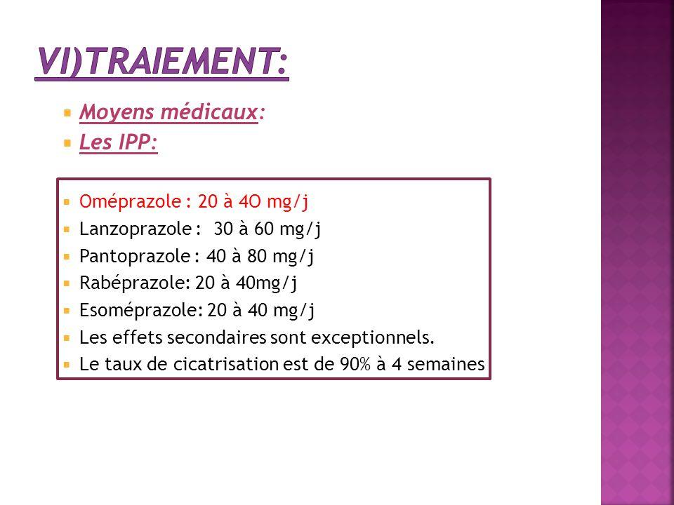  Moyens médicaux:  Les IPP:  Oméprazole : 20 à 4O mg/j  Lanzoprazole : 30 à 60 mg/j  Pantoprazole : 40 à 80 mg/j  Rabéprazole: 20 à 40mg/j  Eso