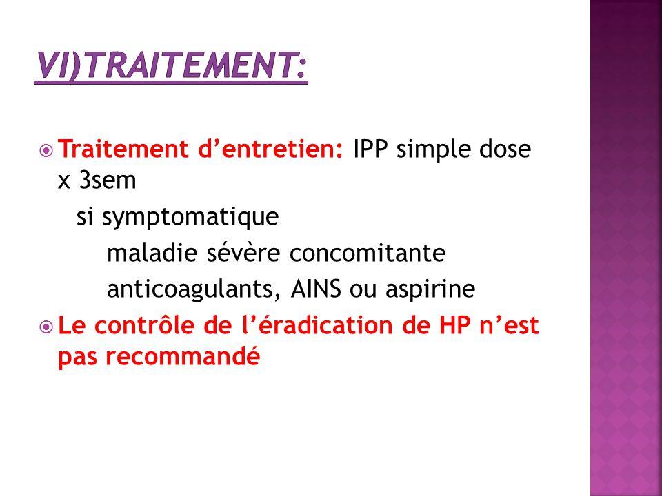  Traitement d'entretien: IPP simple dose x 3sem si symptomatique maladie sévère concomitante anticoagulants, AINS ou aspirine  Le contrôle de l'érad