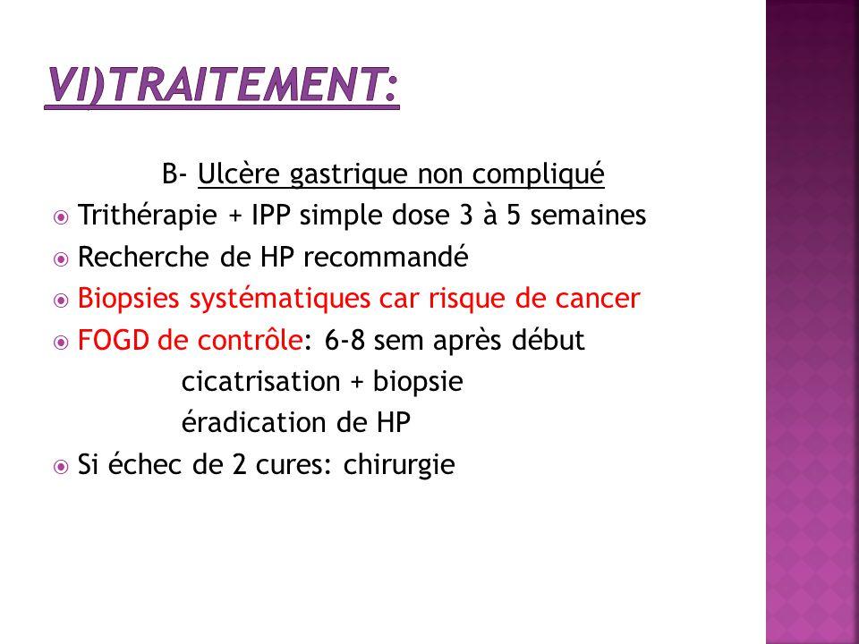 B- Ulcère gastrique non compliqué  Trithérapie + IPP simple dose 3 à 5 semaines  Recherche de HP recommandé  Biopsies systématiques car risque de c