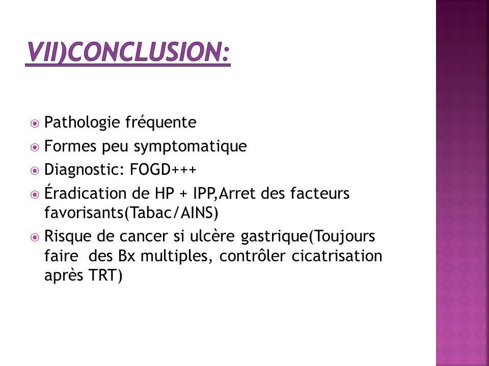  Pathologie fréquente  Formes peu symptomatique  Diagnostic: FOGD+++  Éradication de HP + IPP,Arret des facteurs favorisants(Tabac/AINS)  Risque
