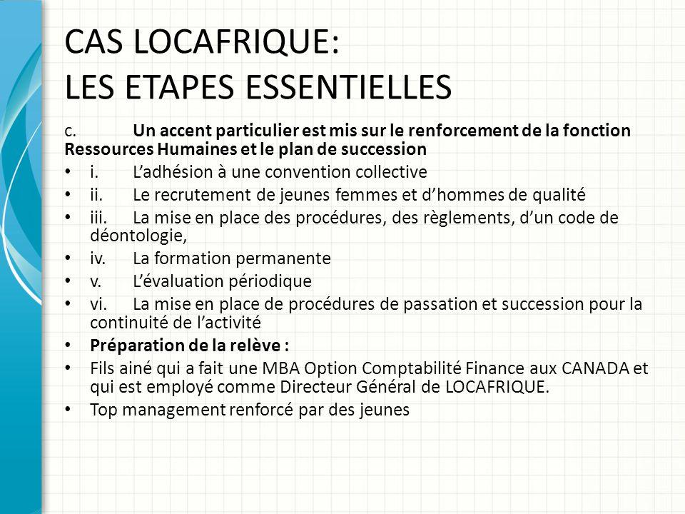 CAS LOCAFRIQUE: LES ETAPES ESSENTIELLES c.Un accent particulier est mis sur le renforcement de la fonction Ressources Humaines et le plan de successio