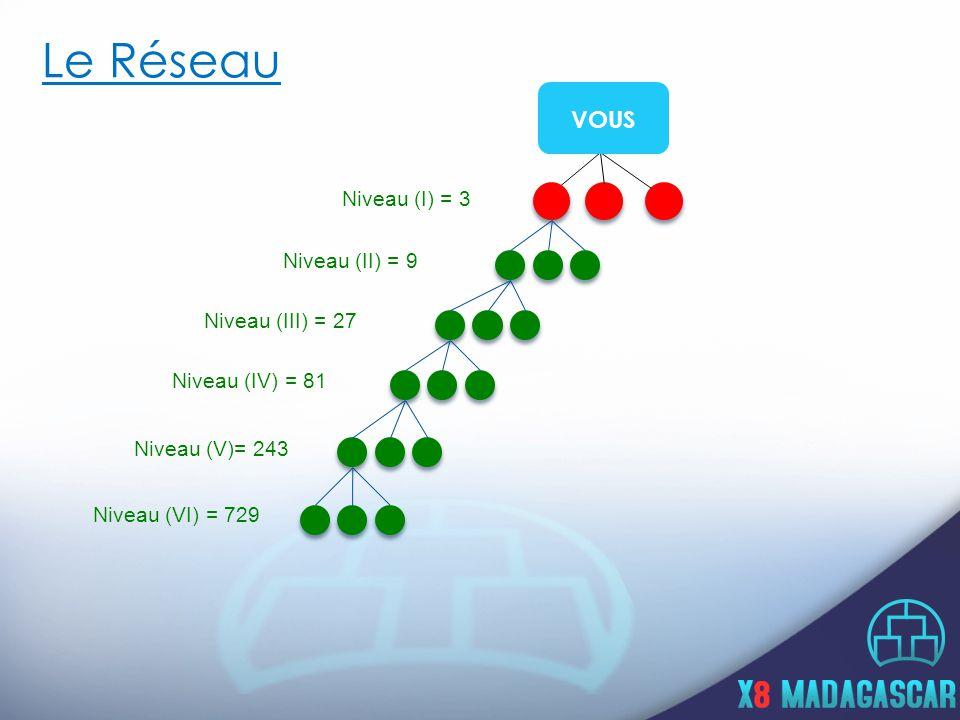 Le Réseau Niveau (I) = 3 Niveau (II) = 9 Niveau (III) = 27 Niveau (IV) = 81 Niveau (V)= 243 Niveau (VI) = 729 VOUS