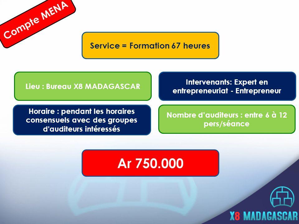 Service = Formation 67 heures Horaire : pendant les horaires consensuels avec des groupes d auditeurs intéressés Lieu : Bureau X8 MADAGASCAR Intervenants: Expert en entrepreneuriat - Entrepreneur Nombre d'auditeurs : entre 6 à 12 pers/séance Ar 750.000