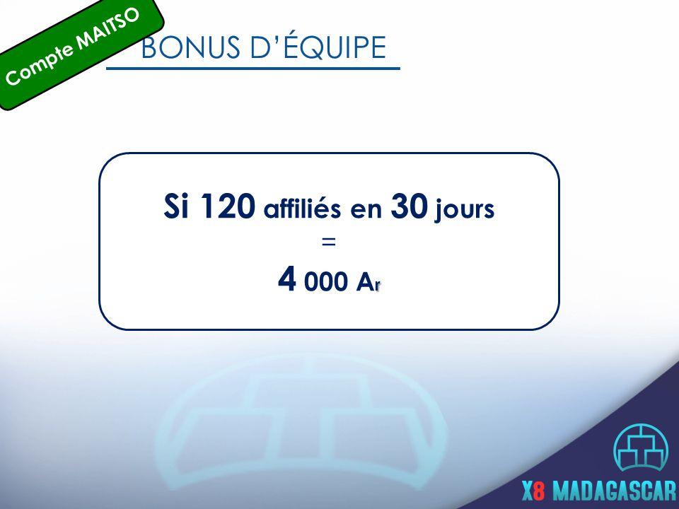 BONUS D'ÉQUIPE Si 120 affiliés en 30 jours = r 4 000 A r Compte MAITSO