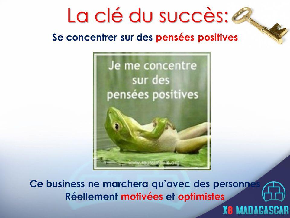 Se concentrer sur des pensées positives La clé du succès: Ce business ne marchera qu'avec des personnes Réellement motivées et optimistes