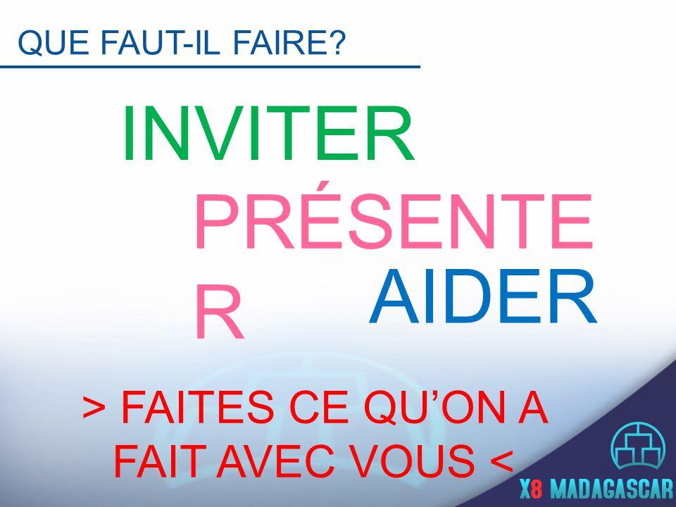 QUE FAUT-IL FAIRE INVITER PRÉSENTE R AIDER > FAITES CE QU'ON A FAIT AVEC VOUS <
