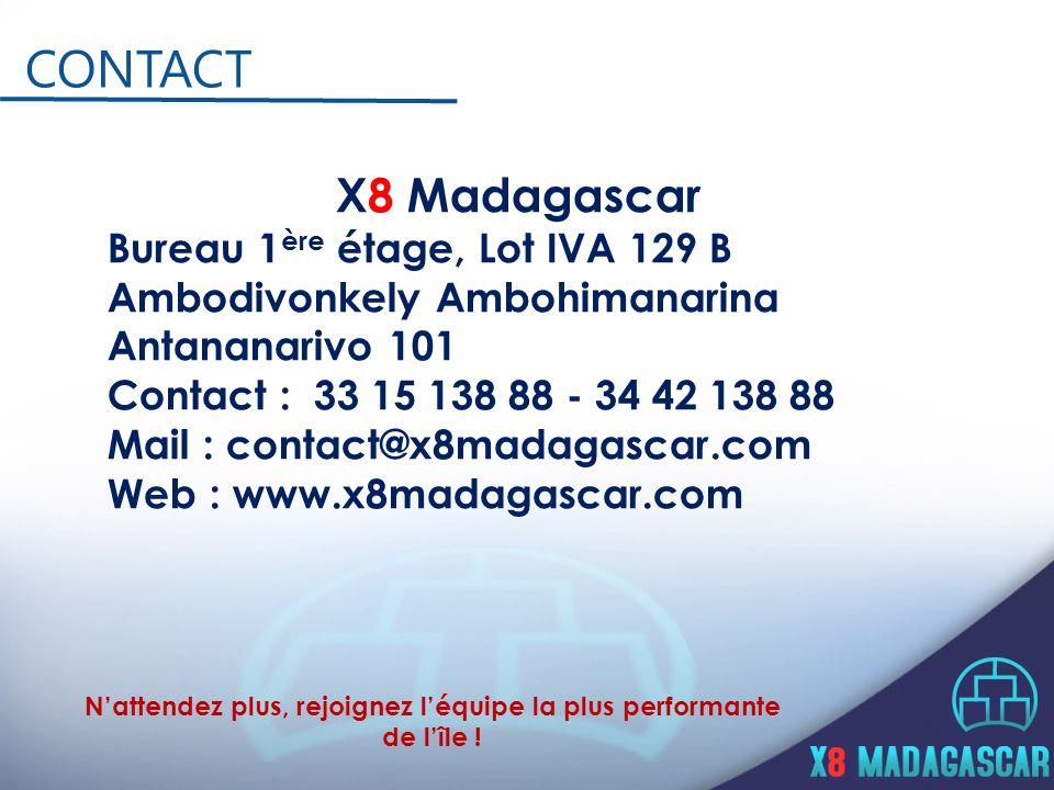 X8 Madagascar Bureau 1 ère étage, Lot IVA 129 B Ambodivonkely Ambohimanarina Antananarivo 101 Contact : 33 15 138 88 - 34 42 138 88 Mail : contact@x8madagascar.com Web : www.x8madagascar.com CONTACT N'attendez plus, rejoignez l'équipe la plus performante de l'île !